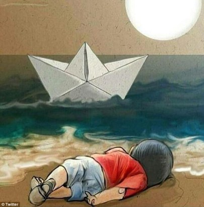 Fuente de la imagen: http://i.dailymail.co.uk/i/pix/2015/09/03/14/2BEFBA7200000578-3220746-This_moving_artwork_depicts_Aylan_Kurdi_lying_dead_on_the_beach_-a-15_1441288665231.jpg